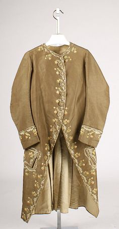 Coat  Date:     ca. 1770 Culture:     Italian Medium:     silk Dimensions:     Length: 42 in. (106.7 cm) Credit Line:     Rogers Fund, 1926 Accession Number: 26.56.23
