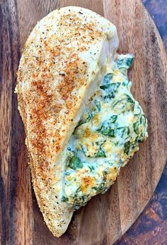 Easy, low-carb keto spinach cream cheese stuffed chicken is a quick and healthy dinner recipe loaded with boneless, skinless chicken breasts, cheddar, Gourmet Recipes, Low Carb Recipes, Cooking Recipes, Healthy Recipes, Ketogenic Recipes, Zone Recipes, Atkins Recipes, Pizza Recipes, Lunch Recipes