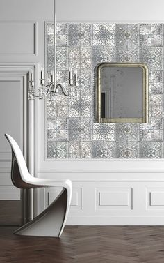 Wallpaper from Louise Body, Paper Tiles. Contemporary. Classic. White/Grey.