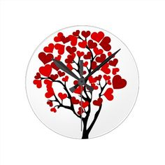 Red heart tree clock