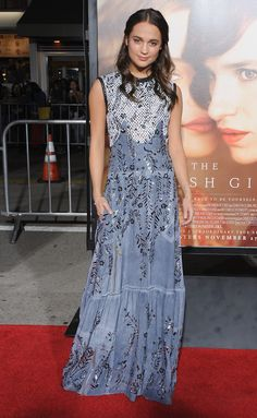 Alicia Vikander wearing Louis Vuitton at the Los Angeles premiere of 'The Danish Girl'
