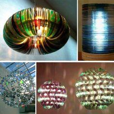 Luminárias utilizando CDs Tutorial de como fazer uma delas vejam  http://photocreations.ca/cd_lamp2/index.html