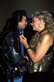 Dwight Yoakam & Sally Kirkland during Party for Peter Fonda in Hollywood, California, United States.