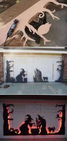 Use led strips to light a garage door silhouette from back, which was created from black-painted plywood or cardboard. #halloweendecorations