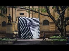 Completed in 2018 in Sydney, Australia. British designer and architect Thomas Wing-Evans has created an interactive sound pavilion in collaboration with the DX Lab for the State Library of. Acoustic Architecture, Parametric Architecture, Interior Architecture, Modern Primitives, Sound Installation, Evans, Metal Cladding, Pavilion Design, Architect Design