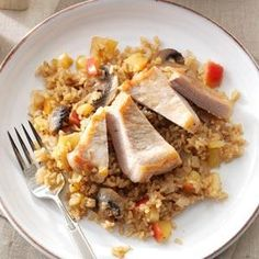 Apple-Balsamic Pork Chops & Rice Recipe -Thanks to tangy balsamic vinegar and sweet apples, this one-pot dish lets you have a little something special anytime. —Greg Hageli, Elmhurst, Illinois