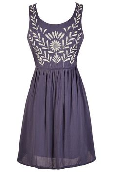 Olive Branch Embroidered Dress in Blue  www.lilyboutique.com