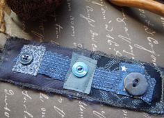 Navy Blue Textile Wrist Cuff with 3 Blue by dwhitecreations, $25.00