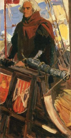 Columbus Leaving Palos (At the Gunwhale with Falconet) (sketch) Joaquin Sorolla y Bastida - 1910  Hispanic Society of America - New York City (United States), oil on canvas, 104.4 cm (41.1 in.) x 135.89 cm (53.5 in.)