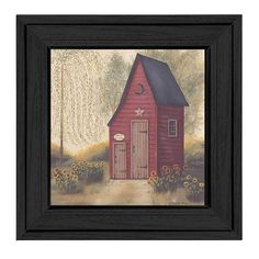 This artwork featues an outhouse with 2 doors, the shorter of the two reads half pints. This totally American Made wall decor item features an attractive MDF moulding and a textured canvas like finish so no glass is necessary and is ready to hang.