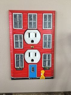 """Please choose your color. Wood Wall Plug In Plate Newfoundland Jellybean Hand drawn on wood and painted with Acrylic. Dimensions 5 """"high x 3 ½ """"Wide. Single Canadian made with safety wall plate on back. Anna Wood, House Painting, Rock Painting, House On The Rock, Newfoundland And Labrador, Wall Plug, Jelly Beans, Plates On Wall, Some Fun"""