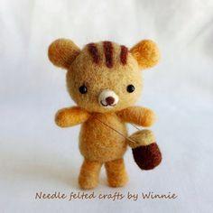Adventure bear handmade needle felted wool doll by FunFeltByWinnie