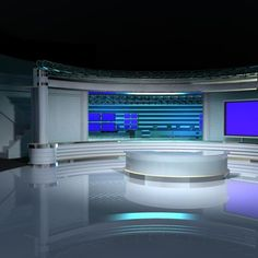 Virtual TV Studio Set 4 Model available on Turbo Squid, the world's leading provider of digital models for visualization, films, television, and games. Studio Setup, Studio Design, Tv Set Design, Frock For Women, 3d, Architecture, Model, Studio, Projects To Try