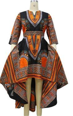 Dashiki ankara wax African print high low dress by UrbaneAfrican African Print Clothing, African Print Dresses, African Fashion Dresses, African Dress, Fashion Outfits, African Dashiki, Nigerian Fashion, Ankara Fashion, African Prints