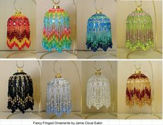 Book of 8 Fringed Ornament Covers. Use these instructions to create a fancy fringed ornment covers for 2 1/2 inch ornament balls. Includes supplies list, detail instructions and illustrations. And remember, when Christmas is over, you wont want to pack up these ornaments!  from the intro: There is nothing like the luxurious beauty of fringe! I love to wear it and look at it. These ornaments celebrate not only the fabulous nature of the beads, but the wonderful look of fringe.  One Christ...