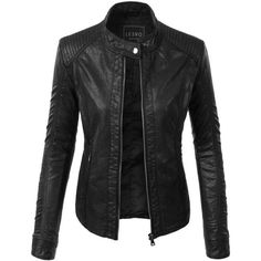 LE3NO Womens Faux Leather Zip Up Moto Biker Jacket with Pockets ($25) ❤ liked on Polyvore featuring outerwear, jackets, rider jacket, fake leather jacket, pocket jacket, faux leather motorcycle jacket and vegan biker jacket