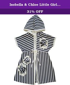 Isobella & Chloe Little Girls Black White Stripe Flower Accent Tie Cover Up 2T. Suitable for the moment when your girl takes a break from swimming, this cover up completes the summer wardrobe. The hooded cover up features a black white striped design, tie in front and flower accents.