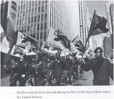 Panthers march down Second Avenue in New York City on their way to the United Nations, 1968. Photo credit: Bettman / Corbis