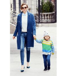 @Who What Wear - Miranda Kerr      Kerr added further intrigue to her denim-on-denim look with Etoile Isabel Marant's Fara Raw Edge Denim Coat ($620) and Frame Denim jeans with the addition of a pastel blue button-down shirt and blue suede Manolo Blahnik heels.