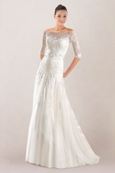 Ethereal Off-the-shoulder Tulle Wedding Dress Highlighted with Lace Overlay