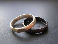 Pair of Small Sterling Silver Faceted Rings by Walker Silverworks