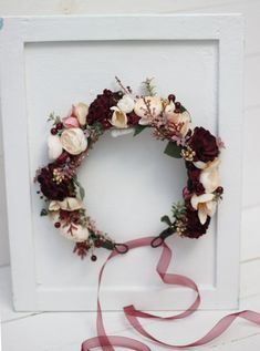 Items similar to Burgundy ivory flower crown Vine gold headpiece Burgundy wedding Floral crown Bridal hair flowers Bridesmaid hairs Boho wedding on Etsy Gold Headpiece, Floral Headpiece, Headpiece Wedding, Gold Wedding Crowns, Floral Crown Wedding, Boho Wedding, Wedding Ideas, Hair Wedding, Prom Hair