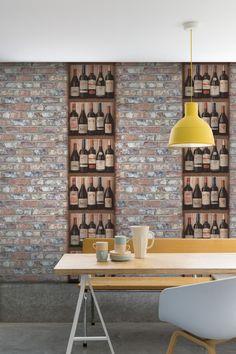 2,79€ Tapete Vlies Grandeco Exposed Warehouse Klinker 3D Stein Mauer rot EW3103