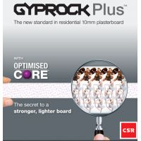 Gyprock Plus 10mm is part of the Residential Select Range of premium quality plasterboards. It is used for general internal wall linings and can also be used on ceilings with standard 450mm joist centres. Information on Gyprock Standard Plasterboard 13mm for Commercial projects can be found here.