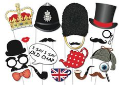 British Photo booth Party Props Set - 20 Piece PRINTABLE - English, Royal Wedding PhotoBooth Props, instant download