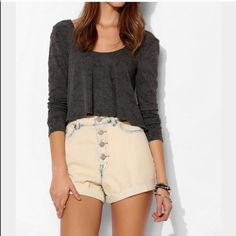 UO High Waisted Shorts High waisted shorts in great condition! Reposhing because they didn't fit me as expected but are still super cute! Urban Outfitters Shorts Jean Shorts
