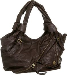 Big Buddha biker hobo bag in dark brown.