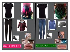 """""""markiplier and jacksepticeye"""" by xxx-nightrose-xxx ❤ liked on Polyvore featuring RED, Joseph, Paige Denim, NARS Cosmetics, Converse and Frame Denim"""