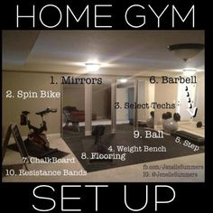 Home Gym Set Up....pretty much everything we have in our home gym, just not as organized! lol