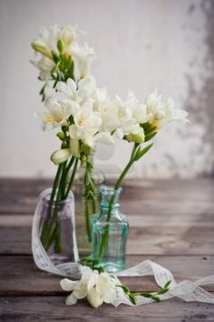 These are gorgeous in addition to mostly yellow/white flowers with wheat... White freesia.