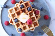 Sunde belgiske vafler til morgenmad Love Food, Waffles, Pancakes, Breakfast Recipes, Lunch Box, Brunch, Gluten, Yummy Food, Cookies