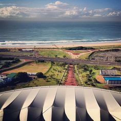 The view from the top of the Moses Mabhida Stadium arch, Durban Durban South Africa, African Love, Blue Skies, Geometry, Birth, Sky, World, Building, Places