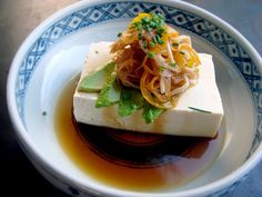 i want this...NOW! Tofu salad with avocado, enoki mushroom, carrot and onion in Ponzu sauce~
