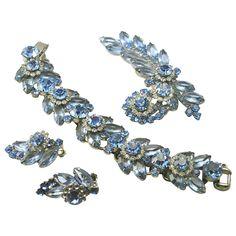 Vintage Juliana D&E Blue Rhinestone Bracelet,Brooch & Earrings Demi Parure Offered by Ruby Lane shop The Vintage Jewelry Boutique