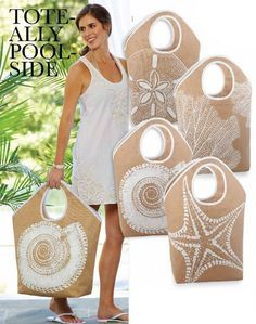 """Details about Mud Pie Shoreline Jute Tote Bag – Beach / Market / Overnight Huge ! These over-sized natural colored jute tote measures 24 """"x x 21 """"and is roomy enough to take off. Jute Tote Bags, Beach Tote Bags, Mesh Ribbon, Trendy Tree, Fabric Bags, Mud Pie, Handmade Bags, Diy And Crafts, Tape Crafts"""