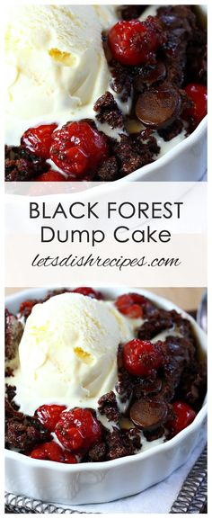 Black Forest Dump Cake Recipe: All you need are a few simple ingredients–like a chocolate cake mix and some cherry pie filling–to make this easy decadent chocolate cherry dessert. #cake #dessert #chocolate #cherry