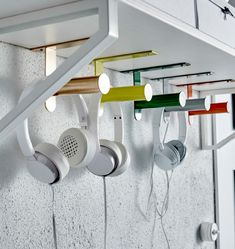 IKEA GRUNDTAL toilet roll holders are mounted to the underside of a shelf, and used to hang headphones Ikea Grundtal, Ikea Toilet, Toilet Paper, Hacks Ikea, Ikea Hackers, Toilet Roll Holder, New Room, Home Organization, Home Furnishings