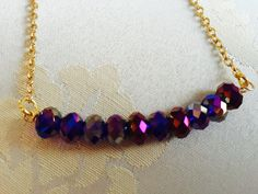 Purple crystal minimalist necklace by tchickie on Etsy