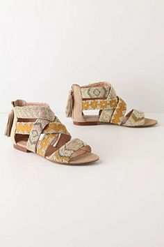 Beaded, tribal, yellow sandals?! I want these on my feet stat.