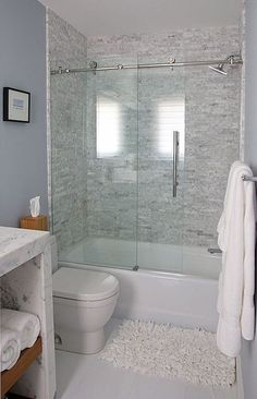 Whether it is teensy shower stall, powder room or a small bathroom, a not so functional washroom definitely can cramp your style. With creative small bathroom remodel ideas, even the tiniest washroom can be as comfortable as a lounge. Perfect-sized sink a Bathtub Shower Combo, Bathroom Tub Shower, Hall Bathroom, Upstairs Bathrooms, Glass Shower Doors, Glass Doors, Bathroom Ideas, Master Bathroom, Bathtub Doors