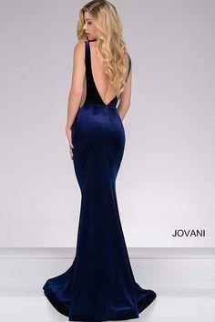 Navy Velvet Backless Prom Dress 46060