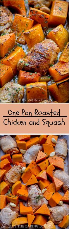 One Pan Chicken and Butternut Squash - super easy, super simple and super delicious! My new favorite fall dinner recipe! by http://LetTheBakingBeginBlog.com @Letthebakingbg