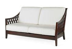 "CENTURY FURNITURE Faye outdoor Loveseat  --  6170.00 retail  --  64""w x 35.5""d x 35""h x 16"" seat ht."