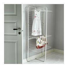 dvere a klika MULIG Sušák, 4 úrovně IKEA Vhodné pro vnitřní i venkovní použití. Díky nastavitelným nohám stojí stabilně i na nerovné podlaze.