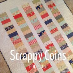 This quilt pattern Scrappy Coins is perfect for precuts or to use up scraps. I offer two different option in the pattern so you can make your