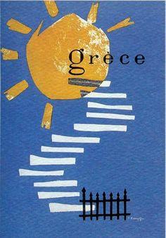 : Vintage travel poster of Greece Poster Vintage, Vintage Travel Posters, Vintage Ads, Illustrations Vintage, Illustrations Posters, Poster Ads, Advertising Poster, Old Posters, Greek Art